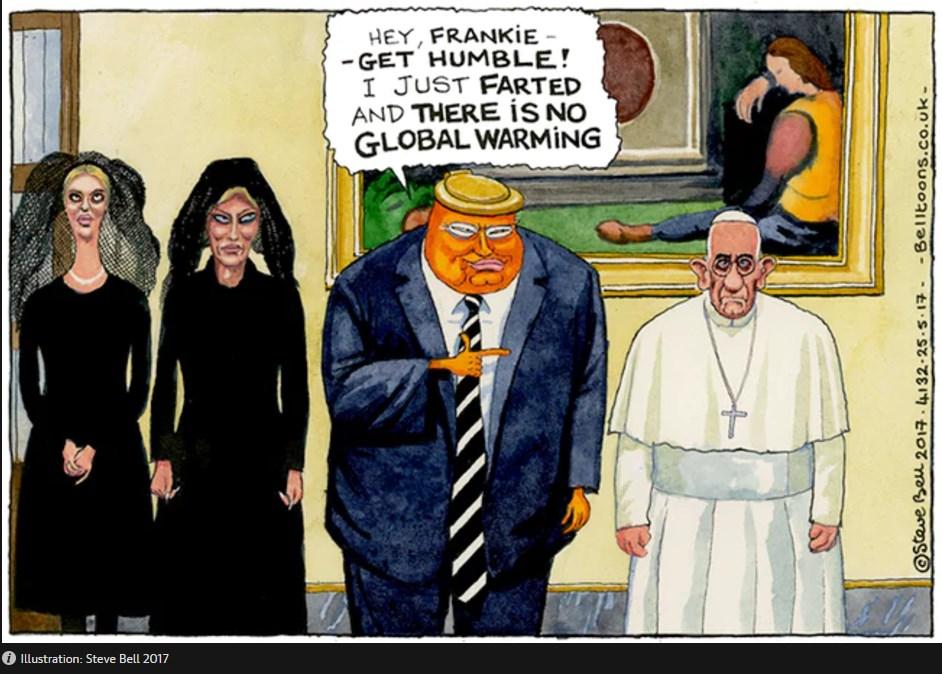 Τραμπ-Πάπας – Μια γελοιογραφία χίλιες λέξεις – Καπάκι τουαλέτας τα μαλλιά του Τραμπ (Photo)