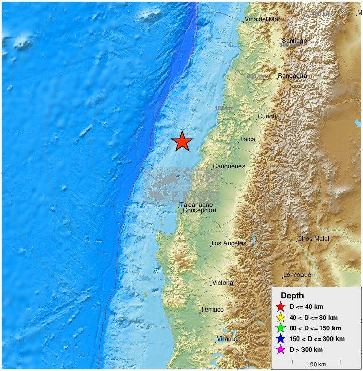 Πολύ ισχυρός σεισμός 6,8 Ρίχτερ ανοιχτά της Χιλής