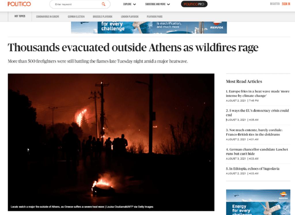 Ο Διεθνής Τύπος για τις καταστροφικές πυρκαγιές στην Ελλάδα