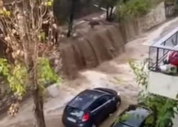 Καταρράκτης – λάσπης στον περιφερειακό του Λυκαβηττού (Video)