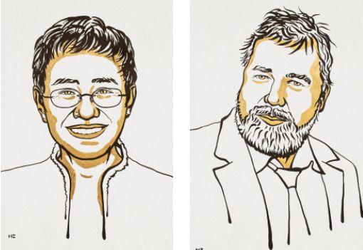 Το Νόμπελ Ειρήνης στους δημοσιογράφους Μαρία Ρέσσα και Ντμίτρι Μουράτοφ – «Για όσους σκοτώθηκαν για την ελευθερία έκφρασης» (Photos)