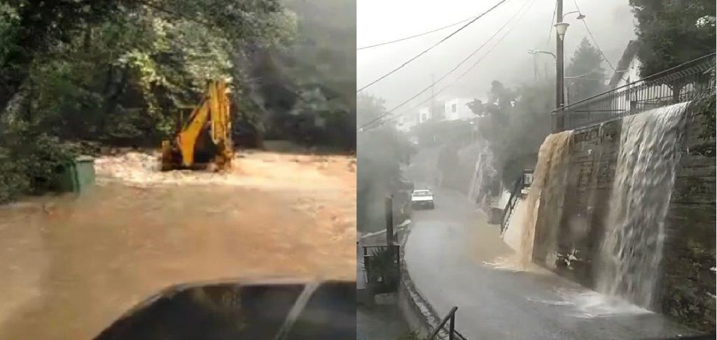 «Βούλιαξε» η Ζαγορά Πηλίου: 700 χιλιοστά βροχής σε 72 ώρες